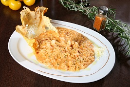 Risotto crème de scampis Pizza Sicilia Cambrai