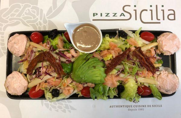 Salade Méditerranée Pizza Sicilia Cambrai
