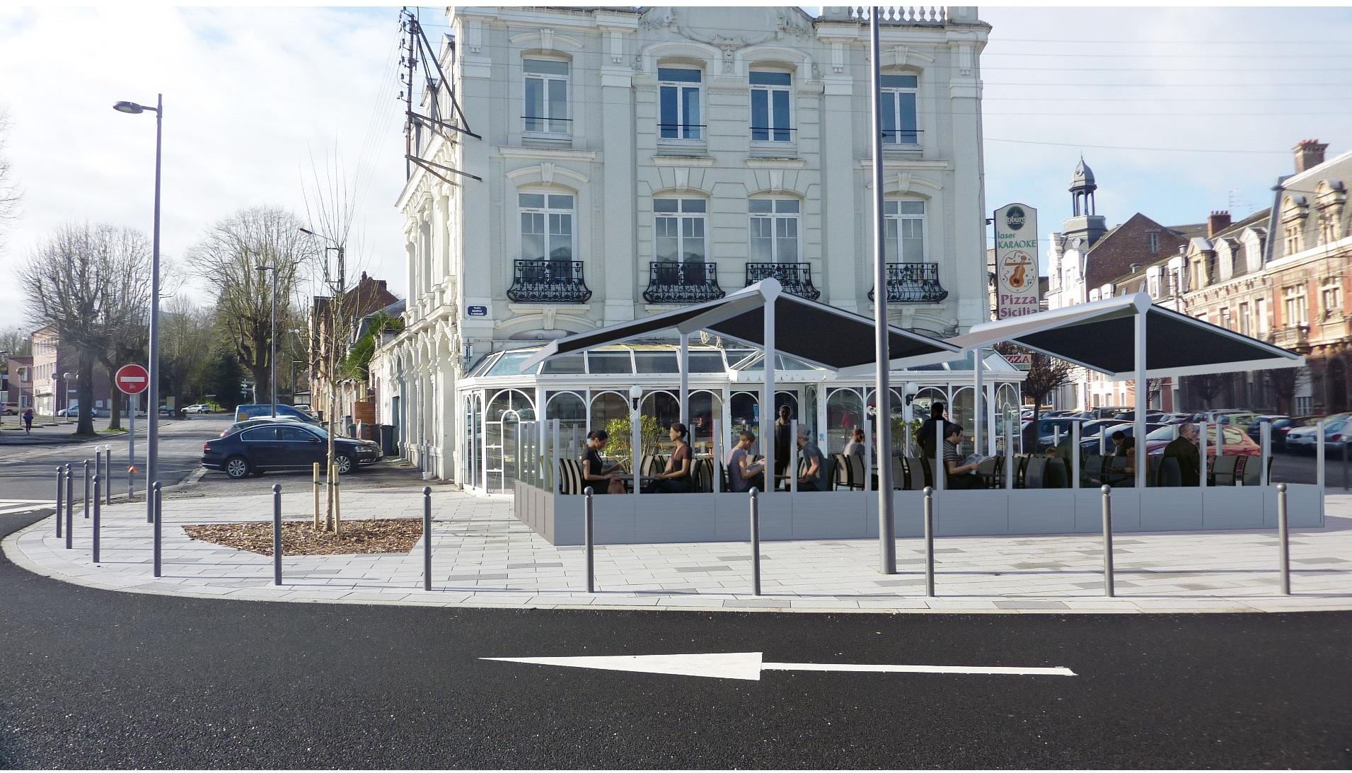 Pizza Sicilia Cambrai, face à la gare, terrasse
